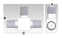 Male Pipe Tee Fitting - Schematic